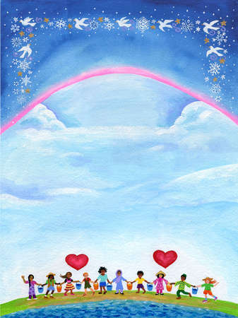 Diverse children holding hands under hearts in sky