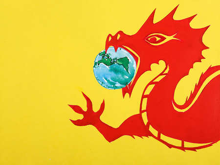 Dragon with earth in its mouth