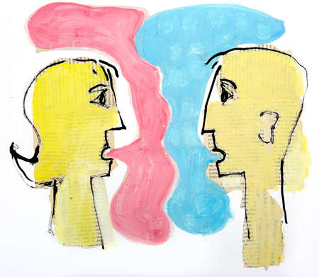 Man and woman with speech balloons talking to each other