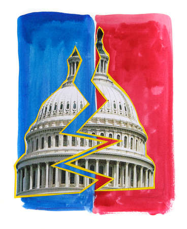 capitol split in half with red and blue background