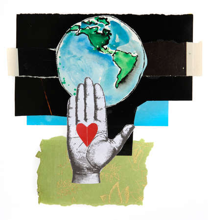 Hand with heart in front of planet earth