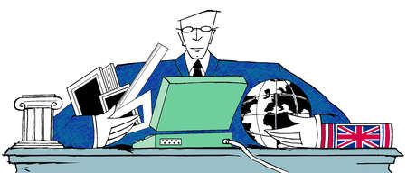 Businessman with arms around globe, laptop and rulers