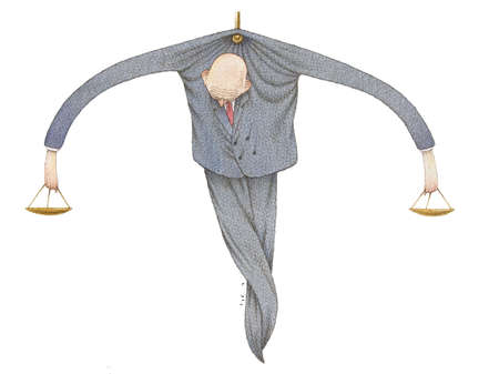 Wrung attorney hanging from nail and balancing scales