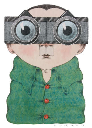 Wide-eyed man wearing magnifying glasses