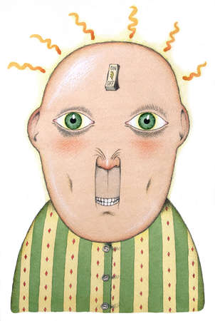 Electric switch on forehead of man