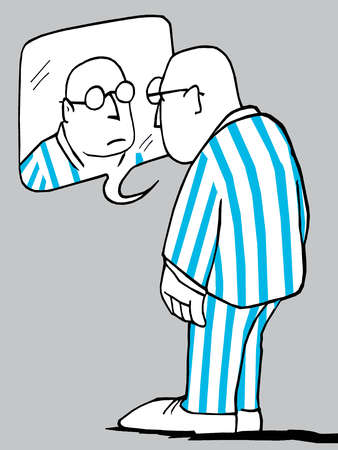 Man in pajamas looking at reflection in speech bubble mirror