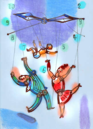 Family on puppet strings hanging from hands of clock