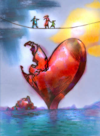 Family walking on top of tightrope above crumbling heart