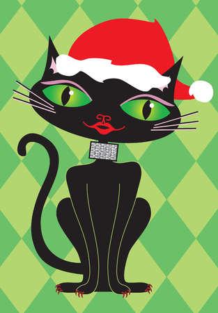 Cat Wearing as Santa Hat