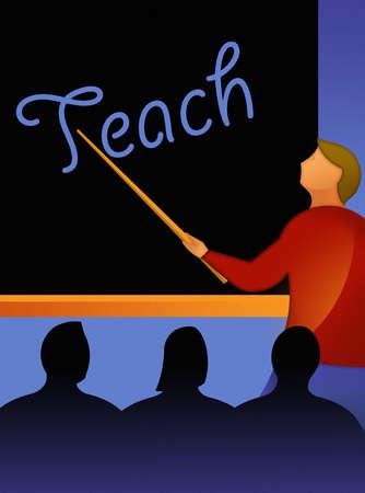 Teacher pointing to Teach text on blackboard