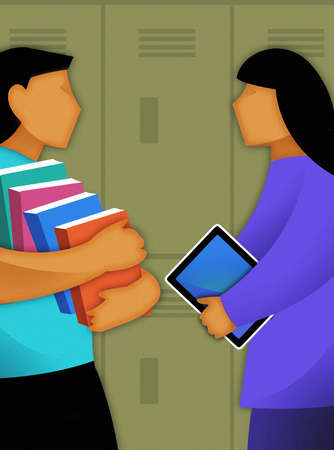 Student with stack of books talking to student with digital tablet at lockers