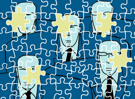 Missing jigsaw pieces over businessmen jigsaw puzzle
