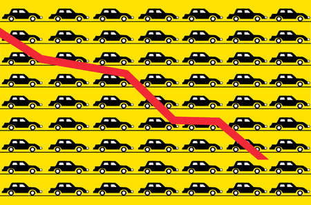 Descending red line over cars