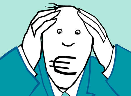 Worried businessman with head in hands and euro symbol covering mouth