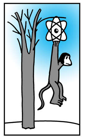Monkey hanging from atom symbol on tree branch