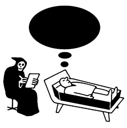 Grim reaper writing on clipboard next to man in coffin with thought bubble overhead