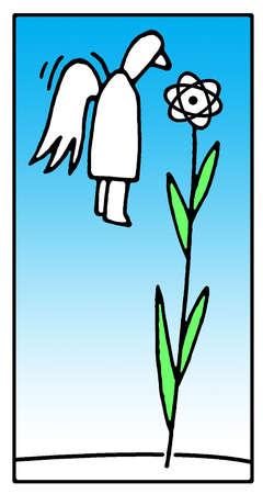 Angel hovering near atom symbol flower