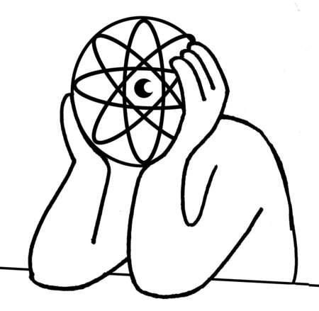 Man with atom symbol head