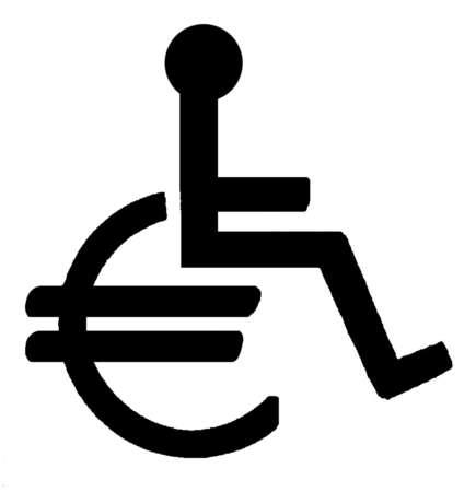 Man in euro sign wheelchair