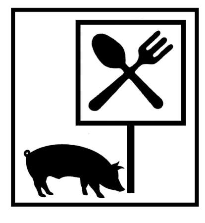 Pig below sign with fork and spoon