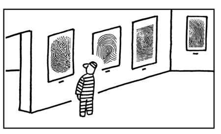 Criminal looking at framed thumbprints hanging in art gallery