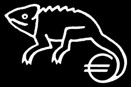 Chameleon with euro symbol tail