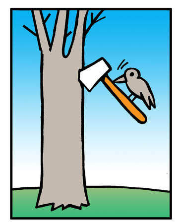 Woodpecker chopping at tree with axe