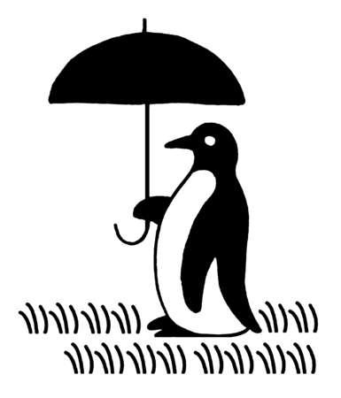 Penguin carrying umbrella