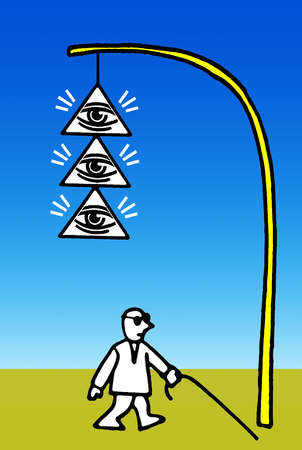 Eyes in pyramids hanging from streetlamp above blind man walking