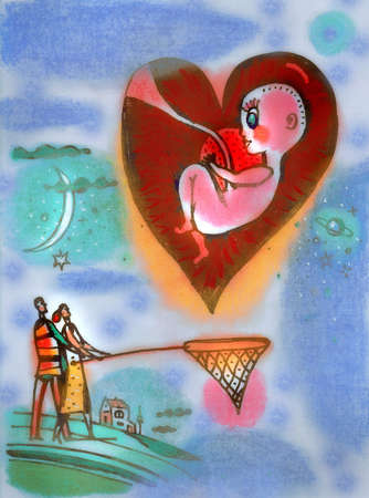 Couple Catching Baby with Net