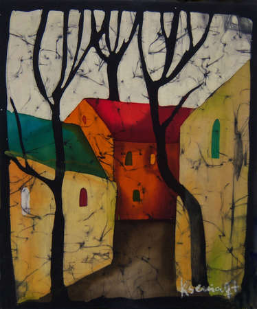 Illustration of houses and bare trees