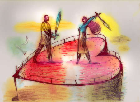 Couple with swords on large heart