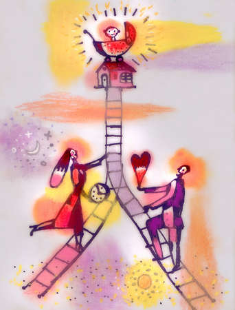 Couple with heart and clock ascending merging ladders toward house and baby