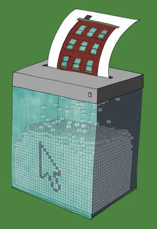 Illustration of house on paper being shredded