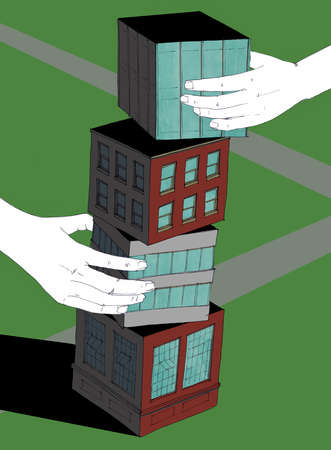 Hands stacking pieces of buildings