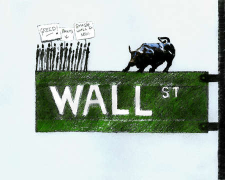 Protesters with signs confronting bull on Wall Street street sign