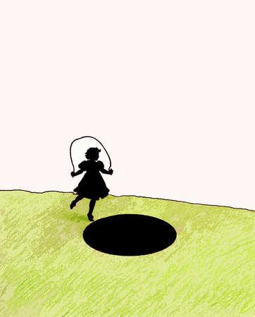 Girl jumping rope toward large hole