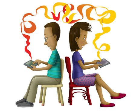 Man and woman sitting back to back using digital tablets connected by ribbon