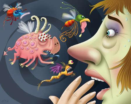 Allergens approaching worried woman