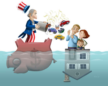Uncle Sam on upside-down piggybank throwing hot cars to family on sinking house