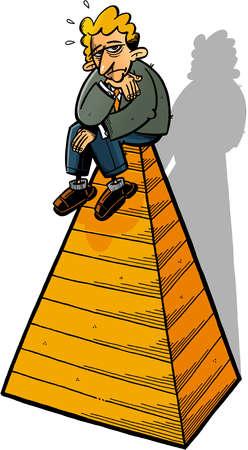 Worried businessman sitting on pyramid