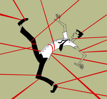 Red tape tangling businessman