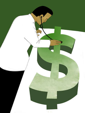 Doctor with stethoscope examining dollar bill on examination table