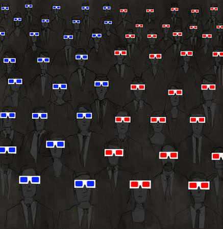 Audience wearing red and blue three-dimensional glasses