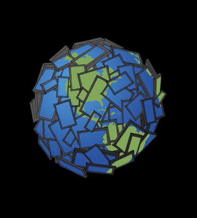 Panels forming globe