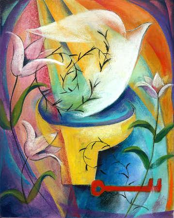 Dove, flowers and key around chalice