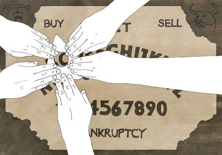 Hands over Ouija board with Bankruptcy text