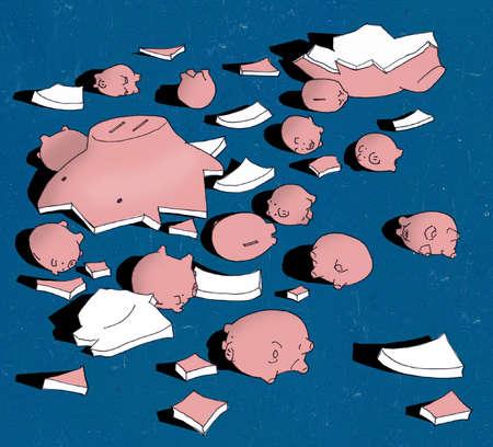 Small piggybanks among pieces of large broken piggy bank
