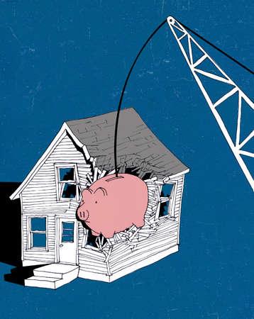 Crane crashing piggy bank into dilapidated house