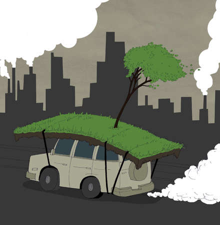 Sod and tree strapped to car driving through polluted city